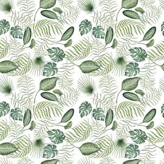 Laat tropische jungle aquarel hand getekende illustratie