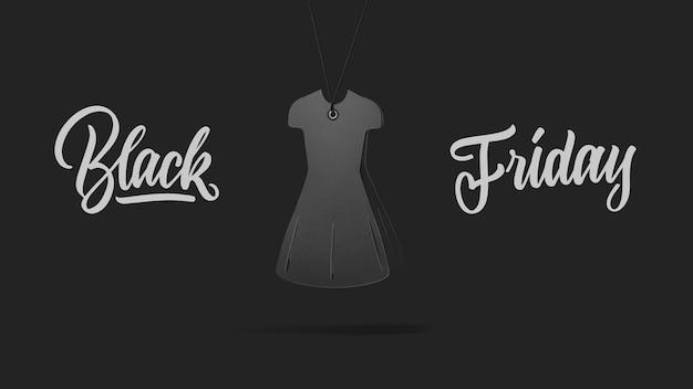 Label in vorm damesjurk gemaakt van karton op hoge heuvel op een grijze background.a kalligrafische tekst zwarte vrijdag en verkoop luxe premium stijl concept