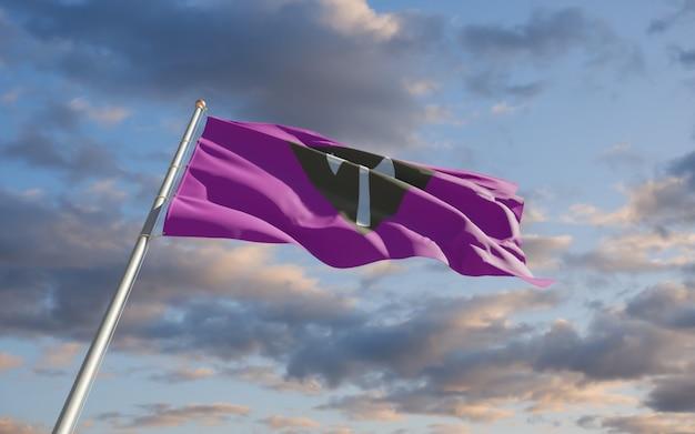 Labrys lesbische vlag. 3d-illustraties
