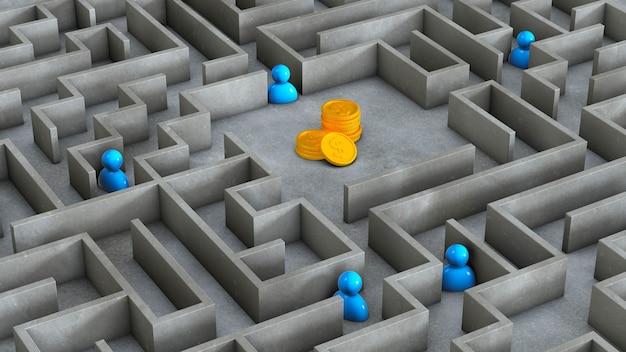 Labyrint en geldmunten met mensen. rivalen zijn concurrenten bij het behalen van winst. 3d render.