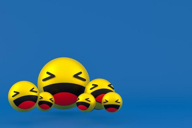 Lach pictogram facebook reacties emoji 3d render, sociale media ballonsymbool op blauw