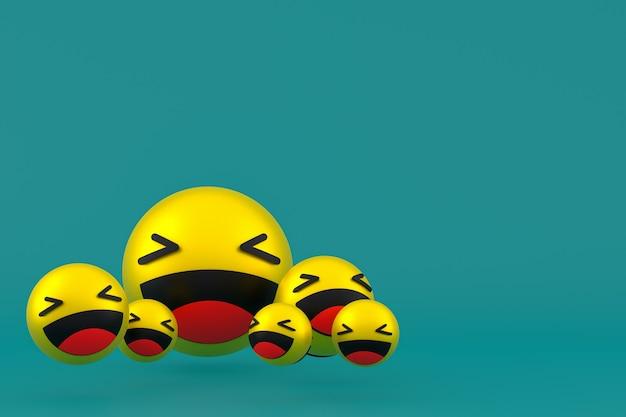 Lach pictogram facebook reacties emoji 3d render, sociale media ballonsymbool op groen