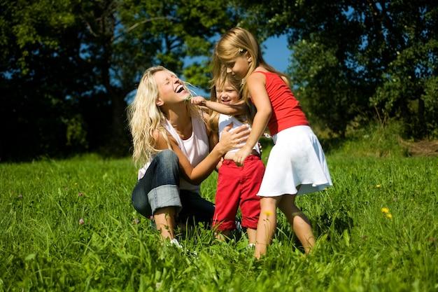Lachende famili op weilanden