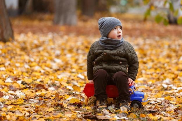 Lachende kleine jongen lopen en spelen met de speelgoedauto buiten in de herfst. gelukkige jeugd concept. grappig kind portret
