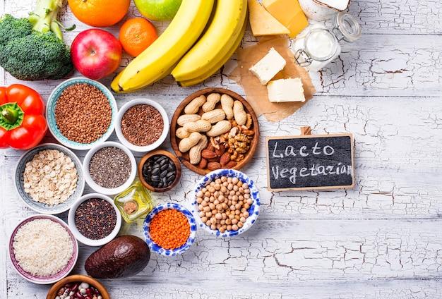Lacto vegetarisch dieet concept. gezond eten