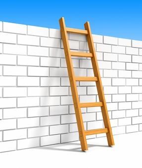 Ladder en witte bakstenen muur