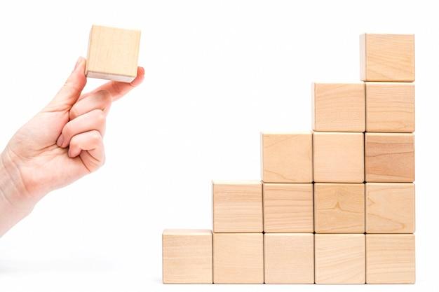Ladder gemaakt van houten blokken