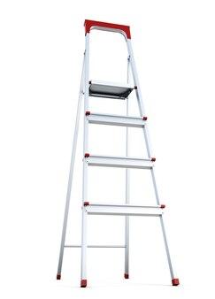 Ladder liggen geïsoleerd op een witte achtergrond. 3d-weergave.
