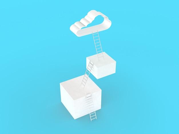 Ladder naar wolken. velen in drie stappen om succes te richten, dat op lichtblauwe muur wordt geïsoleerd, de concurrentieconcept van het illustratie minimalistisch ontwerp. 3d-weergave.