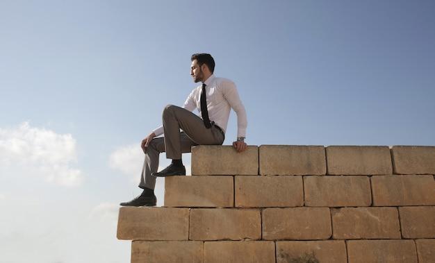 Lage hoek die van een kaukasisch mannetje is ontsproten dat een overhemd en das draagt terwijl het op een zonnige dag op een muur zit