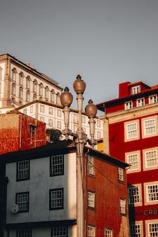 Lage hoek die van mooie rode hoogbouw in porto, portugal is ontsproten