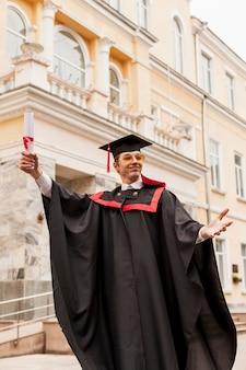 Lage hoek student vieren