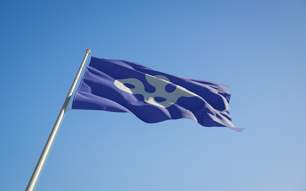 Lage hoek vlag van de prefectuur osaka, japan. 3d-illustraties