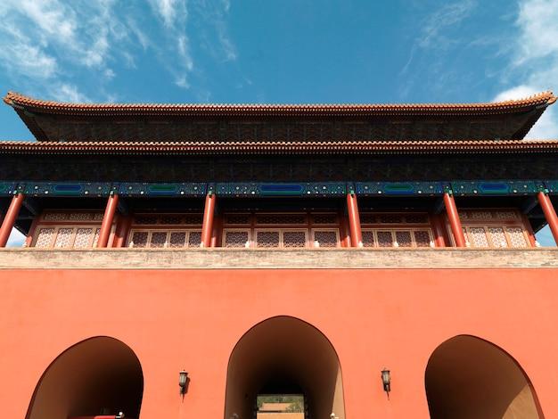 Lage hoekmening van een gebouw bij de verboden stad, peking, china