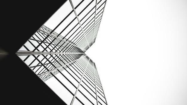 Lage hoekmening van spiegelglazen gebouw