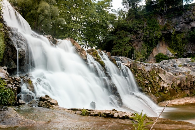 Lage hoekopname van een rotsachtige waterval met groene bomen