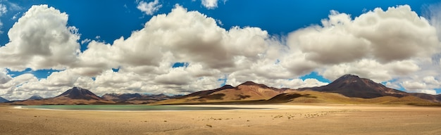 Laguna miscanti. panorama van zout meer en bergen, de woestijn van atacama altiplana. chili, zuid-amerika