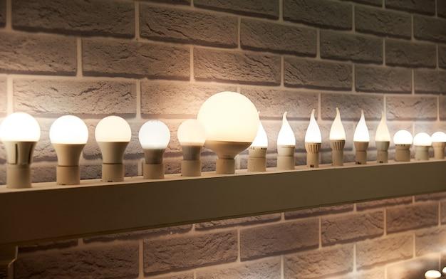 Lampen in verschillende maten en vormen. een stand om led-lampen te laten zien.
