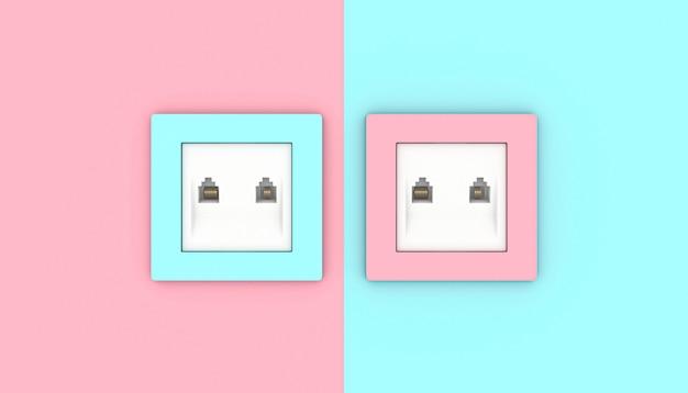 Lan-wandcontactdoos in 2 verschillende, afwisselende kleuren