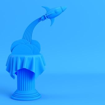 Lanceer raket vanuit een pilaar op heldere blauwe achtergrond