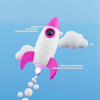Lancering van raket op blauwe hemelachtergrond. opstart- en verkenningsconcept. 3d-rendering.
