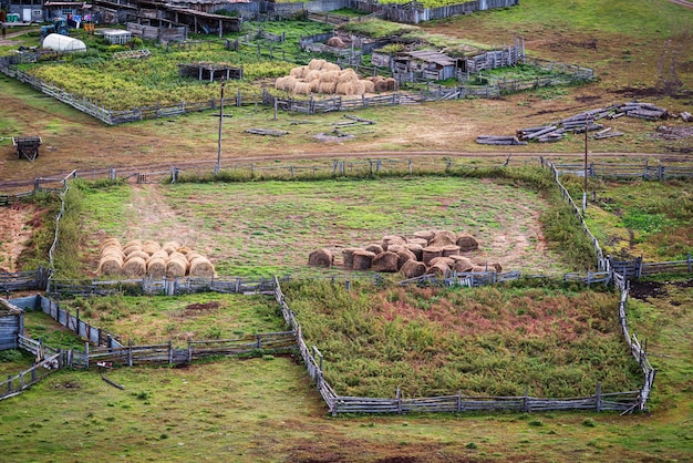 Land en bijgebouwen veeboerderij bovenaanzicht rusland berg altai dorp bichiktuboom