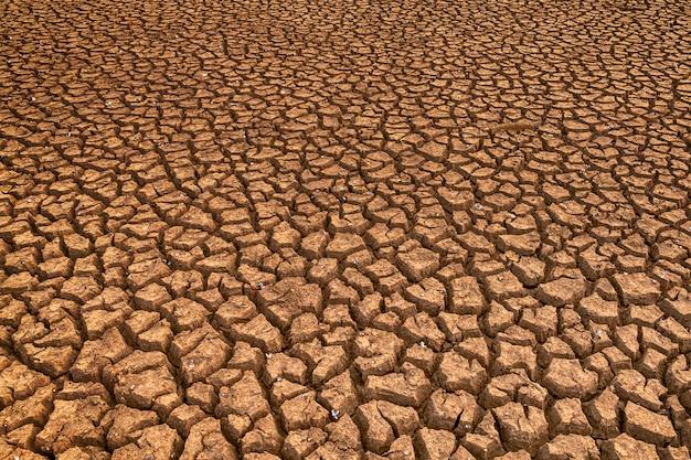 Land met droge en gebarsten grond. opwarming van de aarde achtergrond