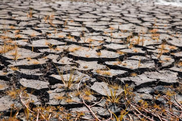 Land met droge en gebarsten grond. opwarming van de aarde