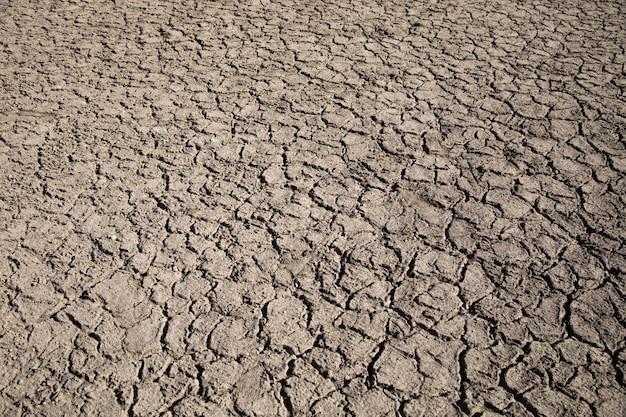 Land met droge, gebarsten grondmuur
