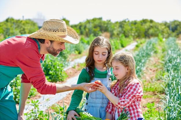Landbouwer die groentenoogst aan jonge geitjemeisjes toont