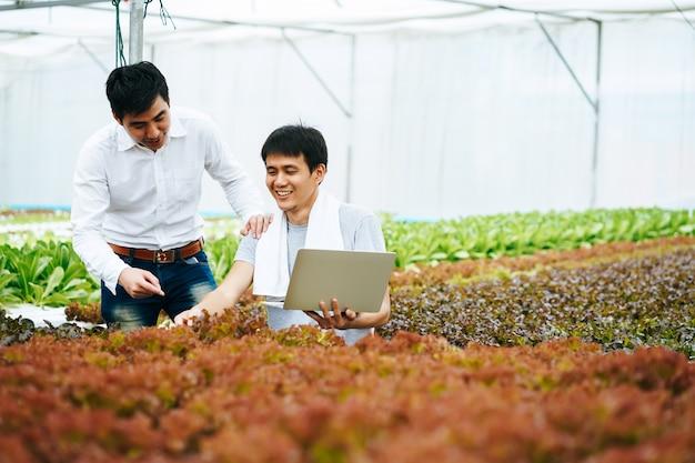 Landbouwer en eigenaar die landbouwproduct en groenten controleren met computer