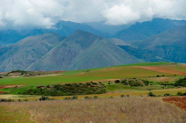 Landbouwgebied in heilige vallei, het gebied van cusco, peru