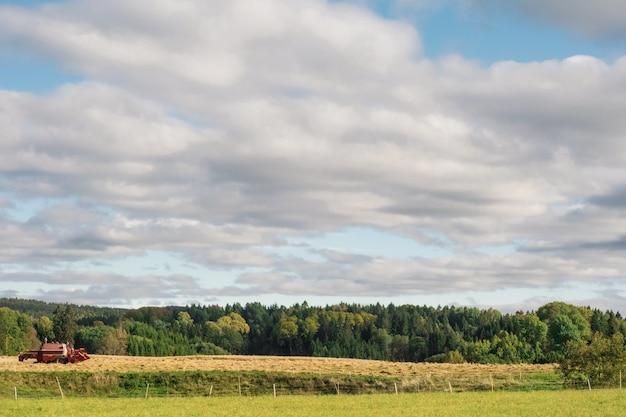 Landbouwgebied omgeven door groene bomen onder een bewolkte hemel