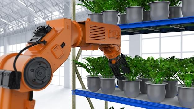 Landbouwtechnologieconcept met 3d-rendering robotarm in kas