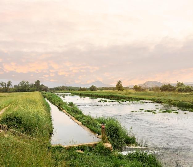 Landelijk concept met rivier en veld