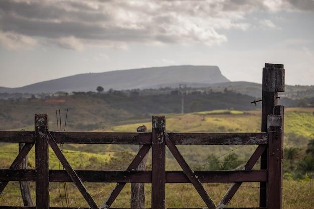 Landelijk landschap met heuvels en bergen op de achtergrond en typische vegetatie van het noordoosten van brazilië.