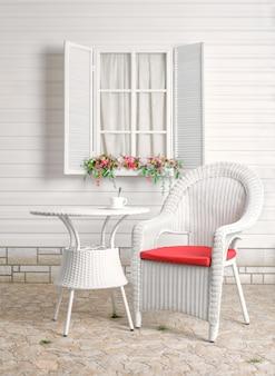 Landelijk zomerrecreatiefebied. rieten meubels.