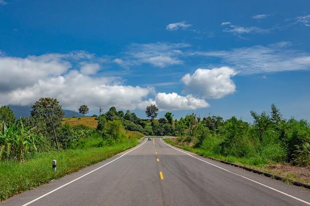 Landelijke landweg op het rush green forest-gebergte onder de blauwe hemel