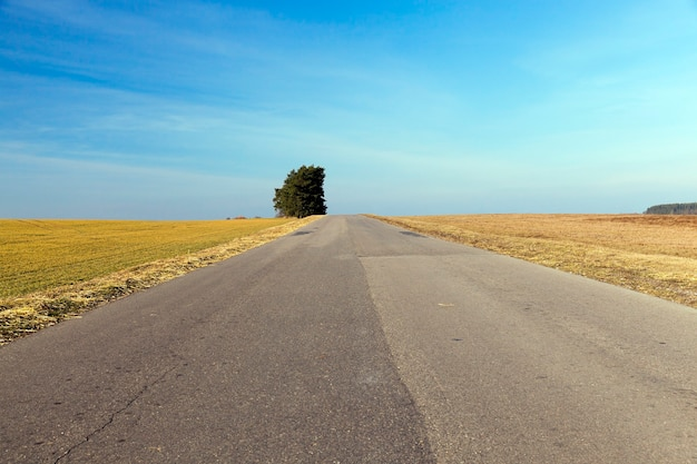 Landelijke weg bedekt met verschillende asfaltlagen in de zomer.