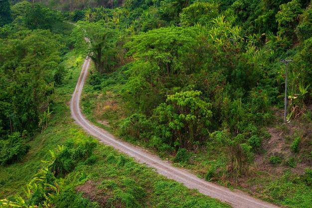 Landelijke wegen naast groen