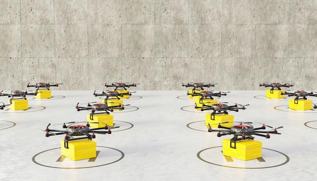 Landingsbaan vol drones klaar met pakketjes voor bezorging