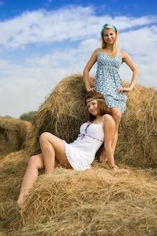 Landmeisjes op hooi in de zomer