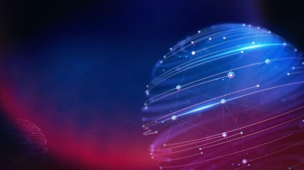 Landschap en futuristische digitale blockchain fintech-technologie.