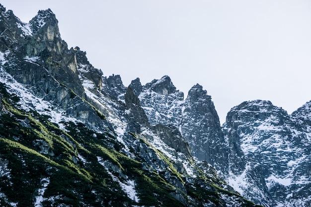 Landschap in de bergen. mooie toppen van besneeuwde bergen