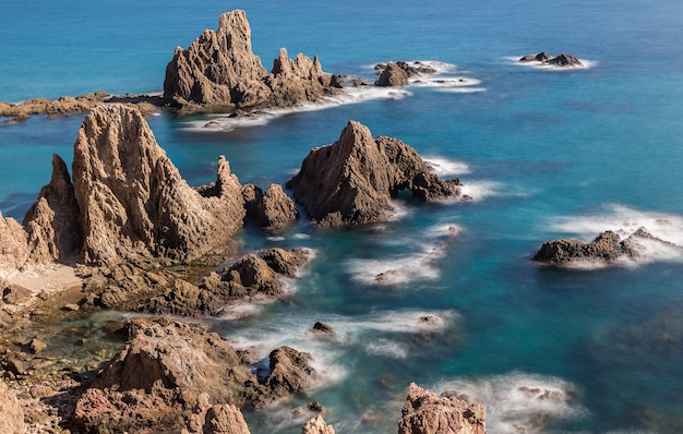 Landschap in de sirens reef, natuurpark van cabo de gata, spanje