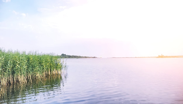 Landschap meer. textuur van water. het meer is bij dageraad. de monding van de rivier aan de samenvloeiing van het meer.