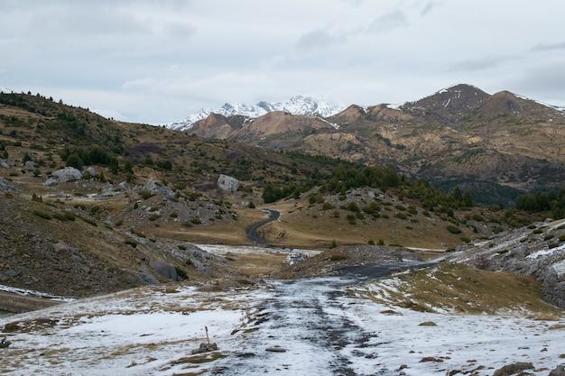Landschap met veel rotsachtige bergen bedekt met sneeuw onder een bewolkte hemel