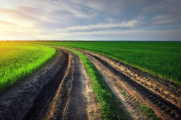 Landschap met weg tussen velden