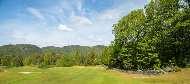 Landschap op een golfbaan met groen gras, bomen, mooie blauwe hemel, panorama