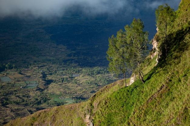 Landschap. op vulkaan batur. bali. indonesië